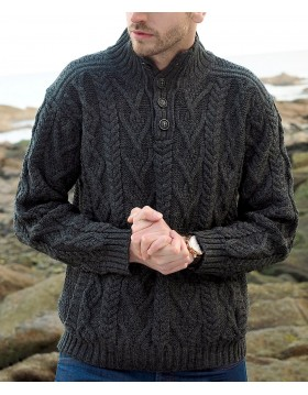 Four Button Aran Cable Sweater |Aran Sweaters Men|Irish Handcrafts 1