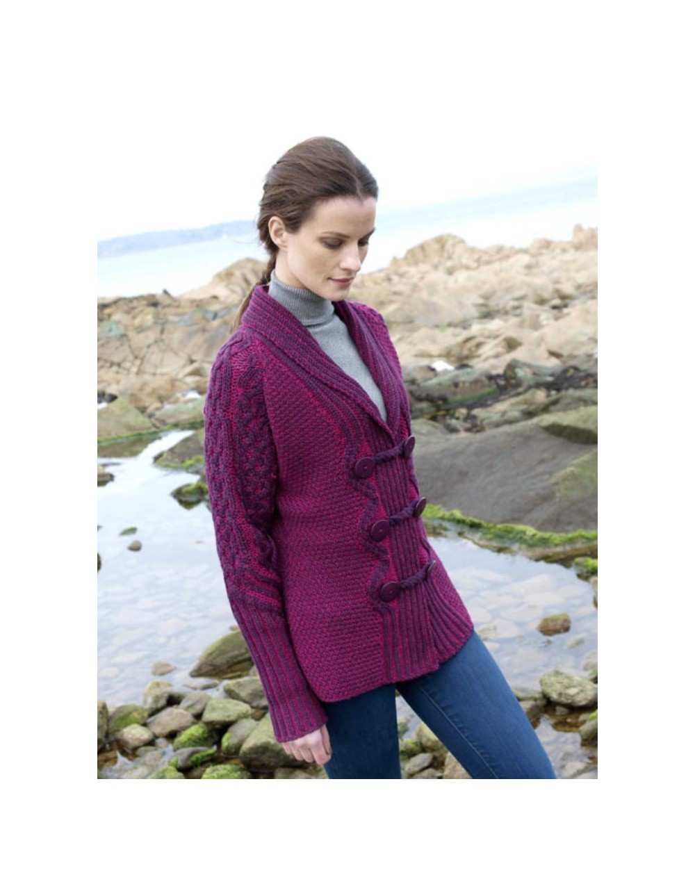 Aran Pattern Two Tone Cardigan|Aran Cardigans Women|Irish Handcrafts 1