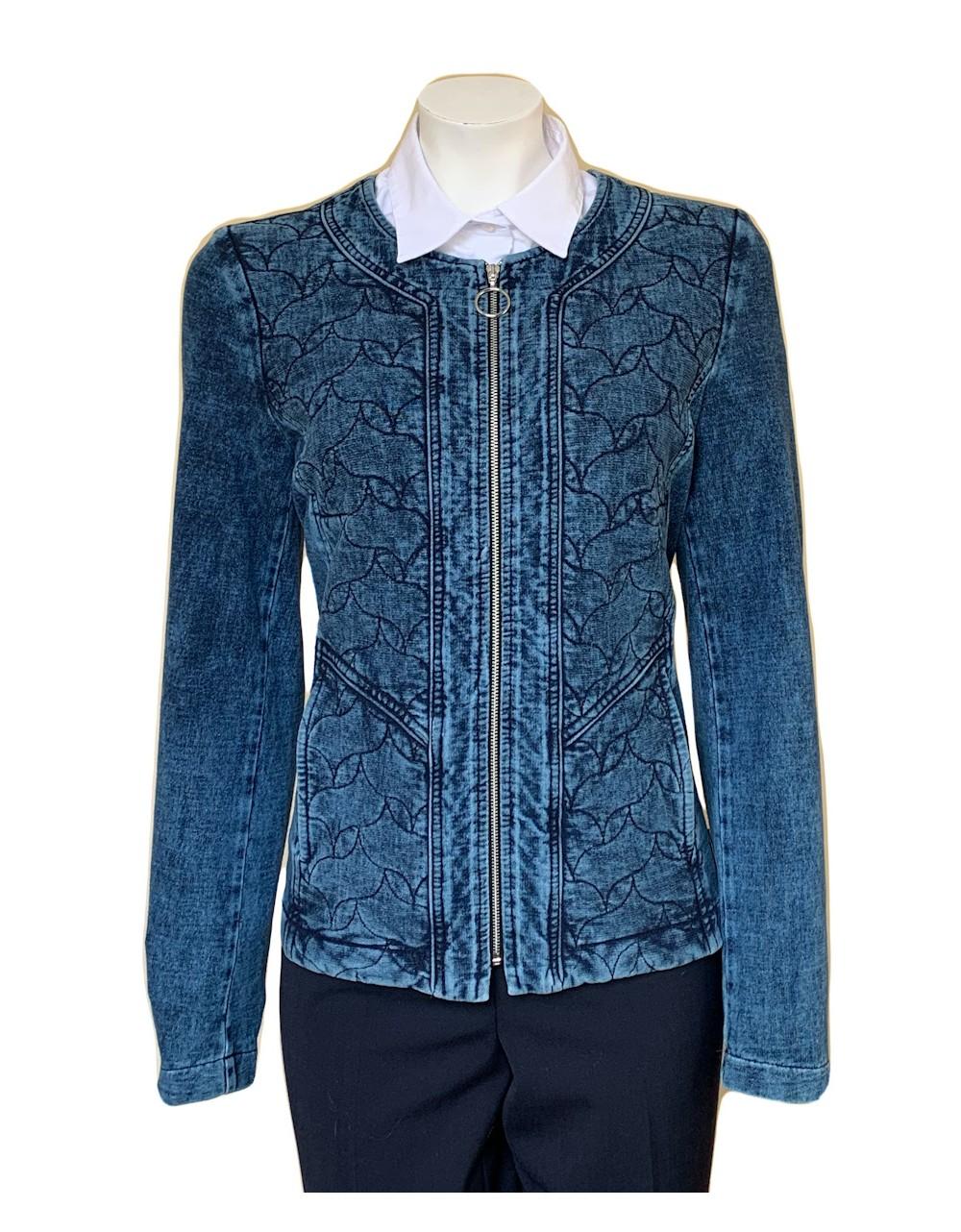 Quilted Floral Pattern Denim Jacket  Our Denim Outwear Irish Handcrafts 1