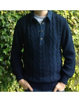 Blue Willi's Mans Polo Sweater|Men|Denim Collection|Irish Handcrafts 1
