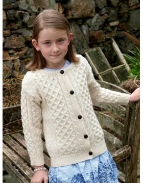 Childs Wool Crew Neck Cardigan|Kids|Irish Handcrafts 1