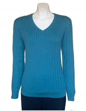 Castle Knitwear Sea Green  V Neck Sweater|Castle Knitwear|Irish Handcrafts 1