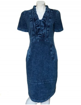 Denim Dress With Ruffle Design Neck|Denim Collection|Irish Handcrafts 1