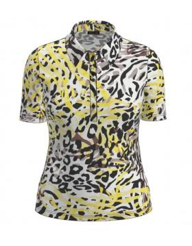 Lebek Polo Shirt Lemon Black Animal Print|Barbara Lebek|Irish Handcrafts