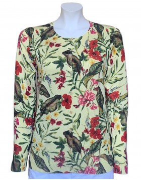 Micha Floral Print Cardigan in Yellow|Tops Blouses & Accessories|Irish Handcrafts 1