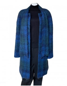 Donegal Design Blue Mohair Coat With Scarf|Mohair Coats|Irish Handcrafts 1