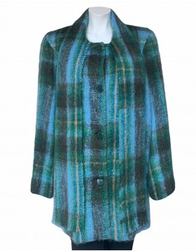 Donegal Design Mohair Green & Blue Coat With Scarf|Irish Handcrafts 1