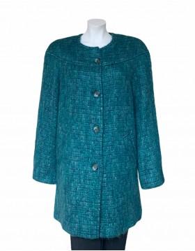 Donegal Design Turquoise Mohair Coat|Mohair Coats|Irish Handcrafts 1