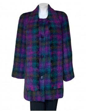 Donegal Design Mohair Purple Coat With Scarf|Irish Handcrafts 1