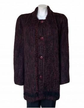 Donegal Design Aubergine Mohair Coat with scarf |Irish Handcrafts1