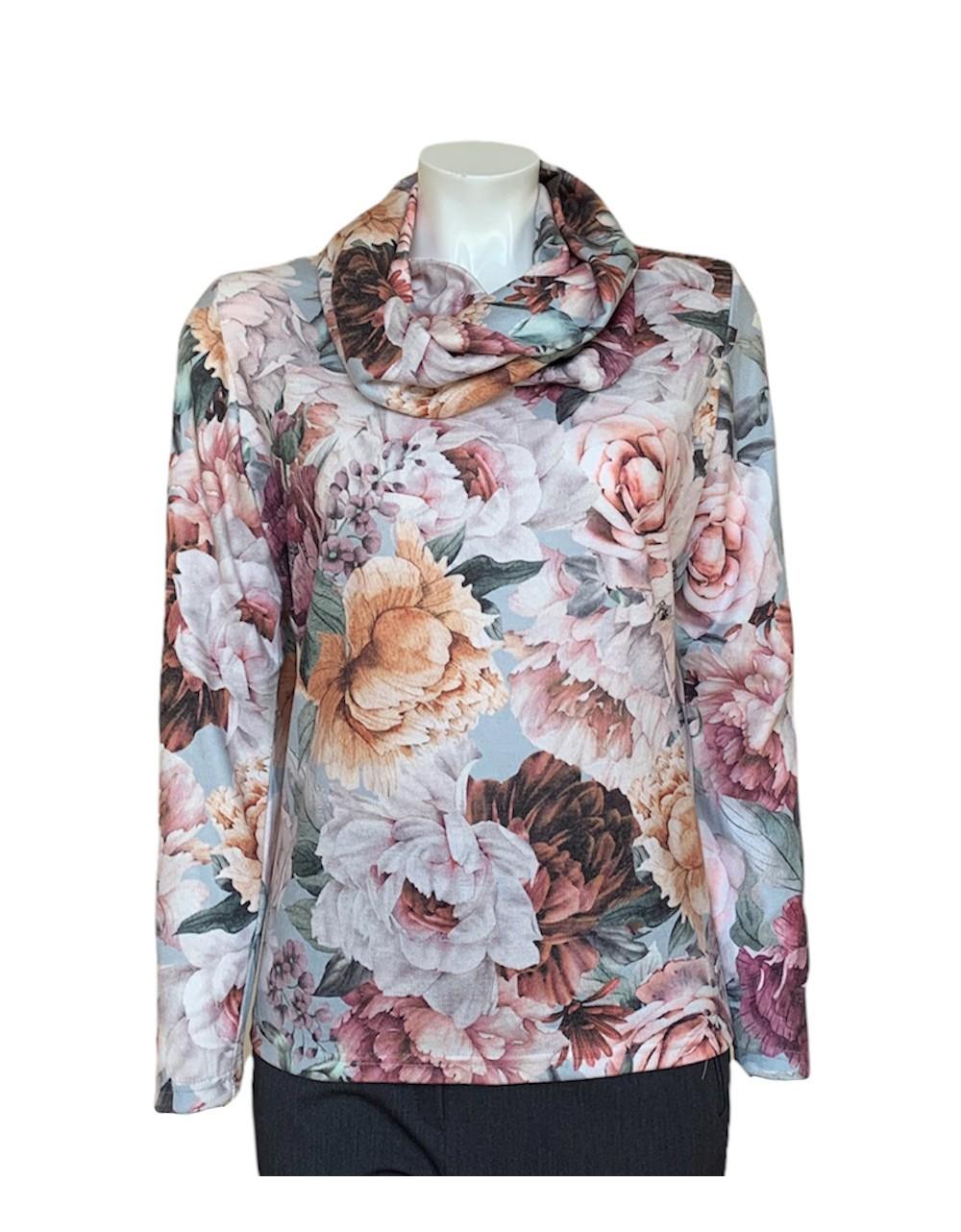 Olga Santoni Floral Print Sweater with Detachable Cowl Neck|Irish Handcrafts 1