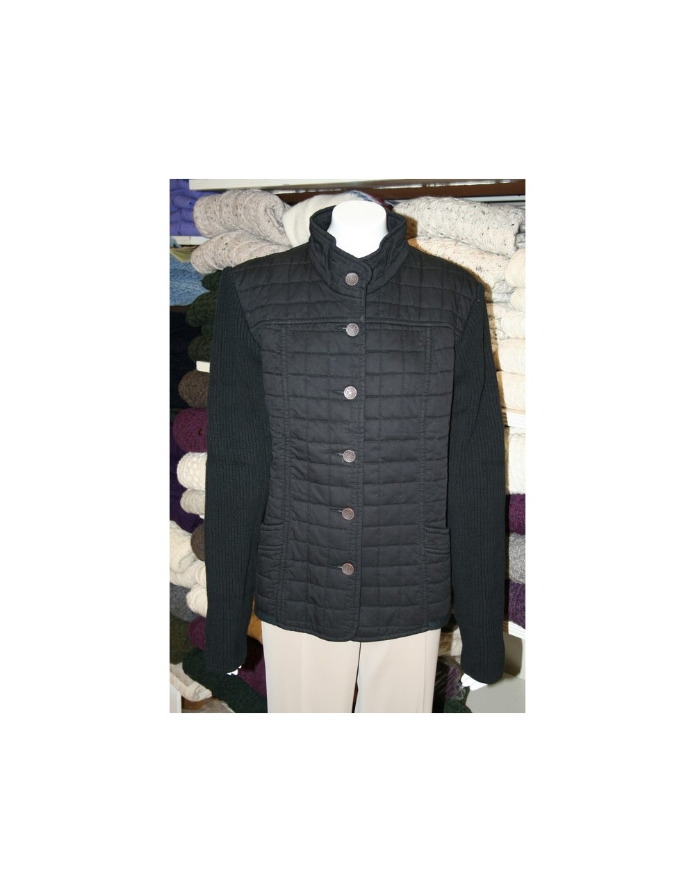 Blue Willi's Classic Black Quilted Cotton Jacket Danish Design Knitwear IRISH HANDCRAFTS -1