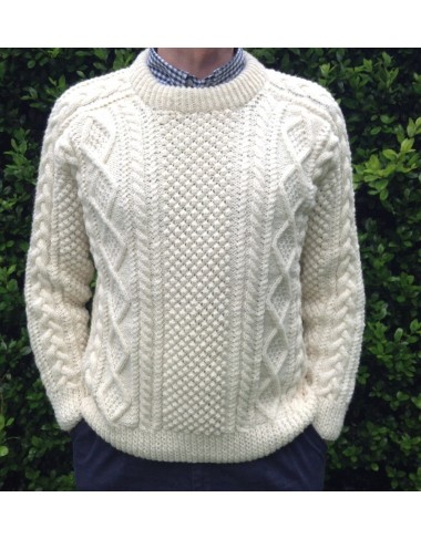 Handknit Saddle Shoulder Aran Fisherman Sweater Aran Knitwear Irish Handcrafts -1