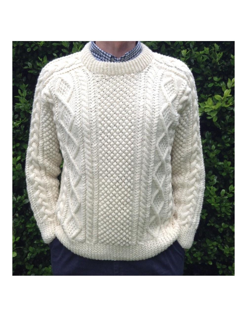 Handknit Saddle Shoulder Aran Fisherman Sweater Aran Knitwear Irish Handcrafts -1