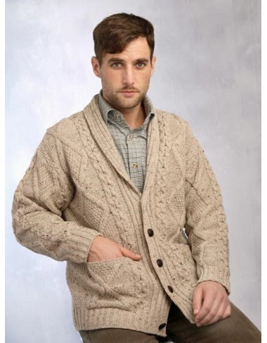 ARAN PATTERN BUTTON CARDIGAN|Irish Fisherman Cardigan|Irish Handcrafts -2