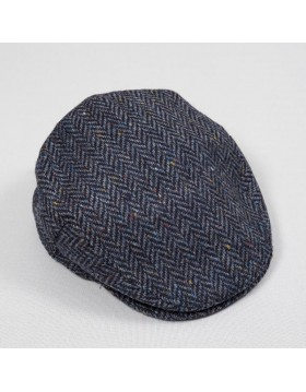 Tweed Cap Blue Herringbone Donegal TCH27|JOHN HANLY|IRISH HANDCRAFTS