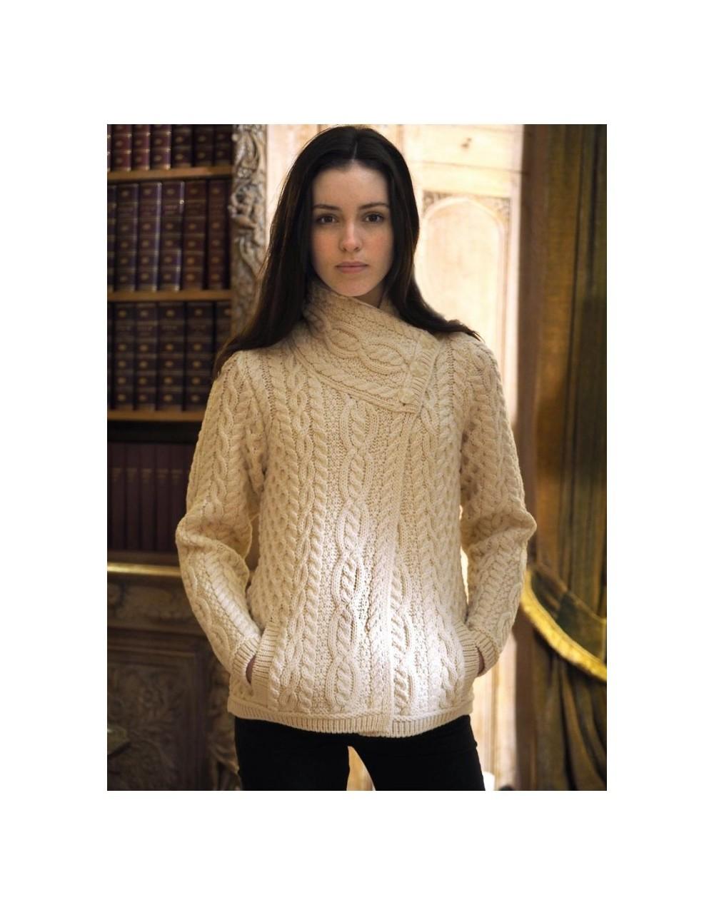 Aran Patterned Three Buttoned Jacket|Aran Sweaters Women|Irish Handcrafts 1