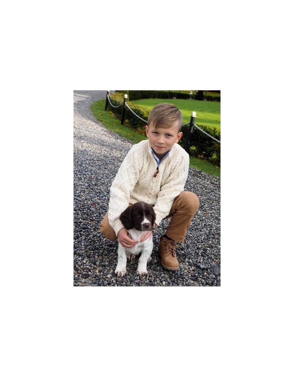 Boys Half Zip Sweater|Kids|Childrens Arans|Irish Handcrafts 1