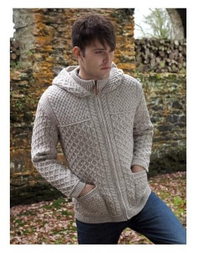 Aran Style Man's Hooded Zipper Coat|Irish Knitwear|Irish Handcrafts 1